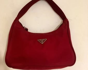 Prada clutch bag, evening handbag nylon Prada cherry color, Burgundy