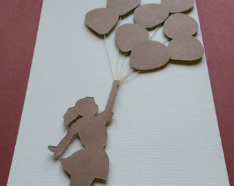 hand made greeting card, birthday card, girl with balloons, raised silhouette card