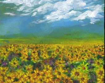 """6x6"""" Sunflower Field"""