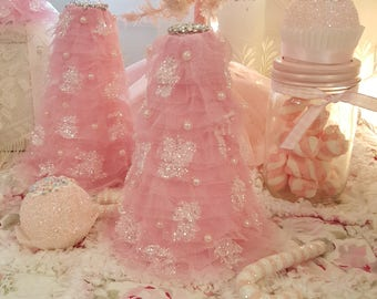 Small Shabby Chic Vintage Pink Christmas Tree Ruffles Tulle Tree Glitter Pink Christmas Tree