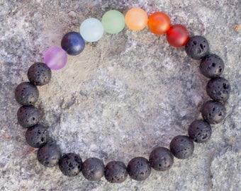 Chakra Lava Diffuser Bracelet, Natural Matte Stones Bracelet