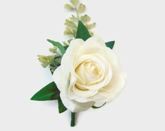 White Rose Artificial Corsage, Silk Rose Buttonhole. Free Delivery