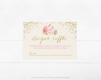 Watercolor Pumpkin Baby Shower Diaper Raffle Card | DIY Printable Digital File | A Little Pumpkin is on the way | DC004