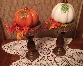 Candlestick Pedestal with Pumpkin and Leaves