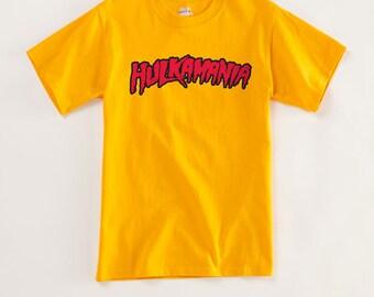 Classic Hulkamania T Shirt Screen printed by hand on AS Colour T shirt