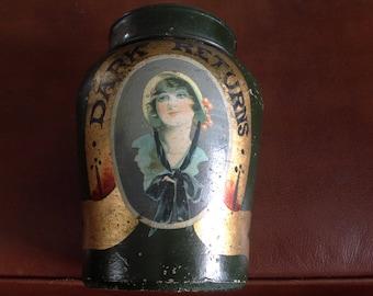 Vintage English Handpainted Ironstone Tobacco Jar W/ Metal Lid 1920's.