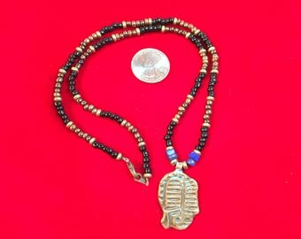 Beaded Necklace with Bronze Pendant 1