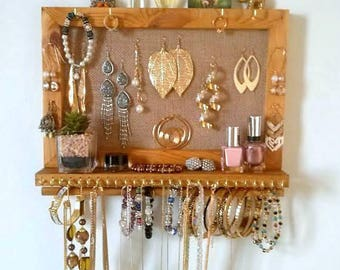 Jewelry organizer with shelf, wall necklace holder, earrings display, bracelets holder