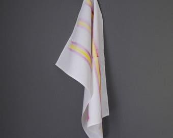 Pink and Yellow Tea Towel