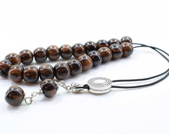 Brown Obsidian Komboloi, Worry Beads, Greek Komboloi, Obsidian, Stress Relief, Gift for Him, Made in Greece, Tesbih, Father's Gift