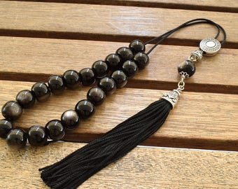 Black Obsidian Komboloi, Worry Beads, Greek Komboloi, Ball Shape Beads, Handmade Tassel, Obsidian, Stress Relief, Gift for Dad, Father Gift