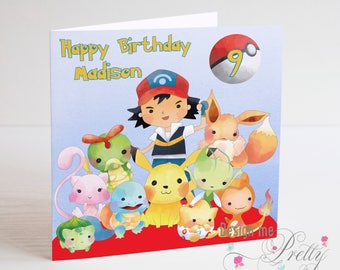 Pokemon Birthday Card personalised with a name and age