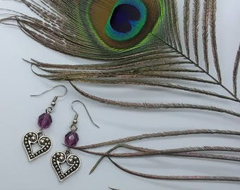Purple Heart Earrings (Pierced or Clip-On)