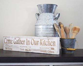 Engraved Pallet Wood Sign- Come Gather in Our Kitchen, Sit Long, Take Much, Laugh Often | Gift | Housewarming | Home Decor | Rustic