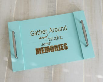 Engraved Serving Tray- Memories   Butler's Serving Tray   Gift   Wedding   Housewarming   Shower   Pallet Wood   Laser  