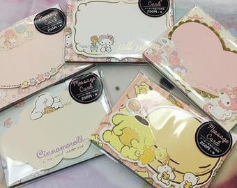 New 2015, 2016 Sanrio mini message note cards and envelopes Hello Kitty, Cinnamoroll, My Melody, Pompompurin, Little Twin Stars