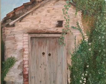 Acrylic Painting in canvas - Hand painted - Old Door in Askas Village
