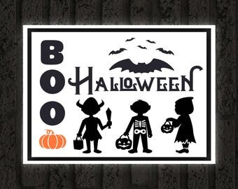 Halloween Printable / Boo Halloween Children in Costume / Ready to Print Digital Download / Size 8x10 300 DPI / Halloween Wall Art Printable