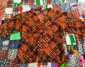 Vintage Plaid Orange Brown Puff Short Sleeves V Neck Button Up Shirt Ties in Back