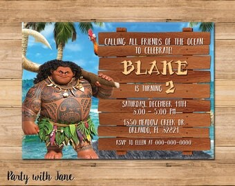 Maui Moana Birthday Invitation, Invite, Boys Girls Kids, Custom Personalised, Hawaii, Printable, 4x6 5x7