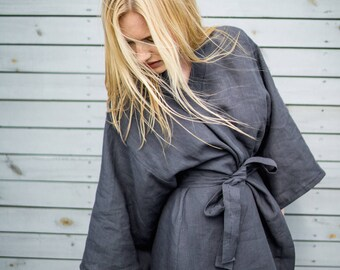 Linen robe - linen bathrobe, dressing gown, morning gown, stonewashed softened linen robe, dark grey