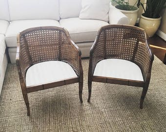 Pair of Vintage Barrel Back Cane Faux Bamboo Chairs