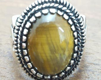 925K Sterling Silver Mens Ring With Natural Tiger Eye Stone