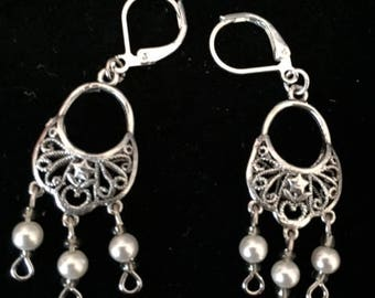 Silver Dangle Earrings, Filigree, Pearls, Handmade, 1.5 Inch Drop Earrings, Gift Wrapped,