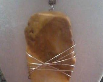 Handmade Silver-wrapped Hematite Pendant