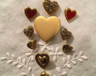 Vintage Buttons - Assorted Whimsical Hearts Set of 11