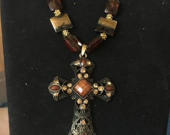 Brown and gold beaded necklace cross and earrings
