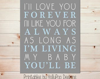 Boy nursery art I'll love you forever Printable nursery art Nursery print Blue gray nursery decor Quotes for baby Boy decor Baby art  #0869