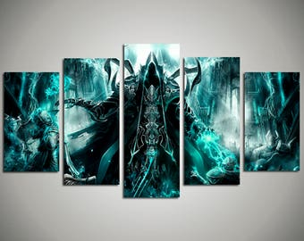 Diablo III 5 panel canvas Reaper of Souls watercolor painting Ultimate Evil Edition canvas print Diablo home decor Kids Room Wall Art 66