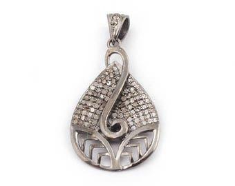 50% off 1 Pc Pave Diamond Pear Drop Pendant - 925 Sterling Silver - Diamond Antique Finish Pendant - Pear Drop Pendant 35mmx21mm PDJ009