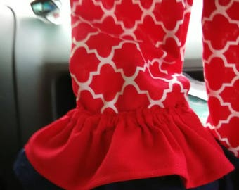 Double ruffle baby girl pants. Red. Navy blue.