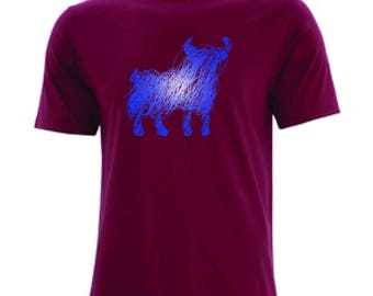 Our Favourite Bull Shirt on maroon