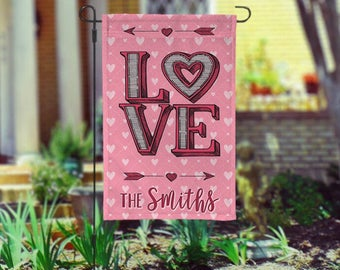 Personalized Valentines Day Garden Flag - garden flag - flag - Valentine's Day - garden decor - lawn flag