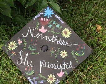 Customized Floral Graduation Cap