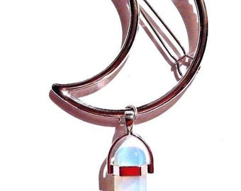 Hair Clip Barrette With Glass Crystal Gem Quartz Opalite Silver Crescent Moon