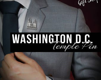 Washington D.C. Temple pin lapel pin in Silver or gold antique finish