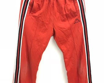 Vintage 90s RARE Colour! Kappa tracksuit pants..Embroided logo..Size L