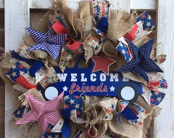 SALE: Patriotic Welcome Friends Burlap Wreath