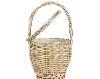 Bamboo Straw Picnic Basket Style Purse Summer Beach Top Handle Wood Bucket Bag