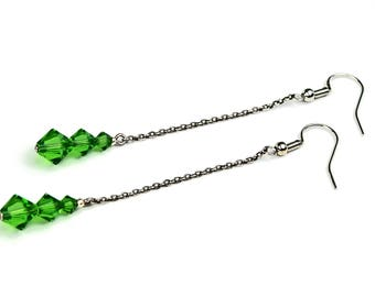 Green Chain Earrings, Drop Earrings, Long Earrings, Swarovski Earrings