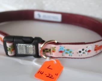 Dog Collar, Reflective Buckle, Jacquard Ribbon, Spotted Cows, Dark RedWebbing, Pet collar, Large