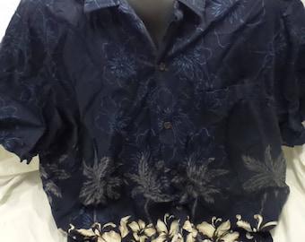 RJC Hawaiian Shirt Mens 2XL Short Sleeve Blue Made In Hawaii USA
