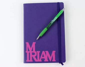 Personalized purple writing journal, notebook, diary. With pink vinyl custom name.