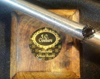 Black Gold Halo Engagement ring. AAA grade Black Moissanite .925 silver w/ Rhodium Plating