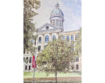 Augustana College LIMITED EDITION Pen and Ink and Watercolor Art Print Illustration - Graduation Gift, Alumni