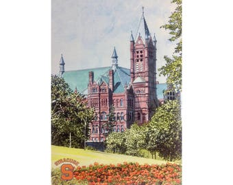 Syracuse University LIMITED EDITION Pen and Ink and Watercolor Art Print Illustration - Graduation Gift, university